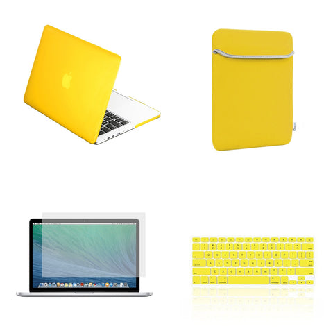 "TOP CASE 4 in 1 – Macbook Retina 13"" Rubberized Case + Sleeve + Keyboard Skin + LCD - Yellow"