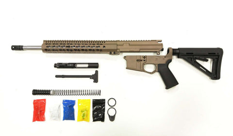 "AR-15 FDE  Rifle Kit  16"" Stainless Barrel 12"" /FDE Keymod Rail Handguard/ with /FDE 80% Lower/ Black Magpul Moe Stock/ Black Magpul Moe Grip/ and  /Enhanced Trigger Guard /- Assembled"