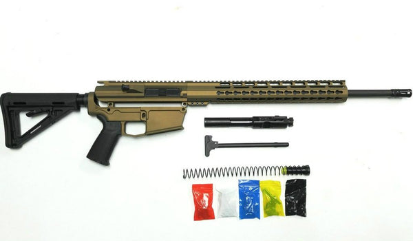 ".308 Cerakote Burnt Bronze Rifle Kit, 15"" Keymod Rail Handguard with 80% Lower/ Black Magpul Moe Stock / Black Magpul Moe Grip /  Assembled"