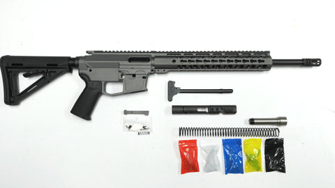 "9 MM Rifle Kit, Cerakote Tungsten Rifle Kit 16"" Phosphate Barrel, Tungsten 12"" Keymod Rail Handguard with Tungsten 80% Lower/ Black Magpul Moe Stock / Black Magpul Moe Grip"