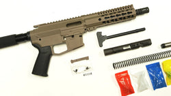 "9 MM FDE Cerakote Pistol Kit, 7.5"" Phosphate Barrel, FDE 7"" Keymod Rail with FDE 80% Lower/  Black Magpul Moe Grip"