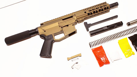 "9 MM Cerakote Burnt Bronze Pistol Kit, 7.5"" Phosphate Barrel, Cerakote Burnt Bronze 7"" Keymod Rail with Cerakote Burnt Bronze 80% Lower/  Black Magpul Moe Grip"