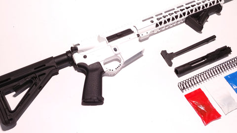 "AR-15 Cerakote White Rifle Kit 16"" Stainless Barrel 12"" Keymod Rail Handguard with 80% Lower/ Black Magpul Moe Stock / Black Magpul Moe Grip / Enhanced Trigger Guard/ MAGPUL AFG Angled Front Grip - Black"