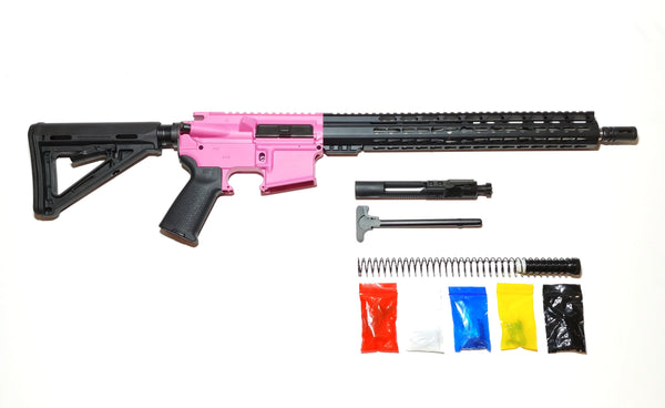 "AR-15 Cerakote Pink Rifle Kit  16"" Stainless Barrel 15"" Keymod Rail Handguard with 80% Lower/ Black Magpul Moe Stock / Black Magpul Moe Grip /- Assembled"