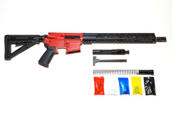 "AR-15 Cerakote Red Rifle Kit  16"" Stainless Barrel 15""/ Cerakote Red Keymod Rail Handguard /with /Cerakote Red 80% Lower/ Black Magpul Moe Stock/ Black Magpul Moe Grip/ - Assembled"