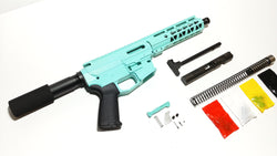 "9 MM Cerakote Tiffany Blue Pistol Kit, 7.5"" Phosphate Barrel, Cerakote Tiffany Blue 7"" Keymod Rail with Cerakote Tiffany Blue 80% Lower/  Black Magpul Moe Grip"