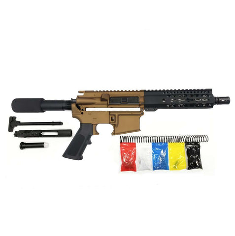"AR-15 Pistol KIT Assembly 7.5"" Stainless  Barrel, 7"" Keymod Rail ,80% Lower"