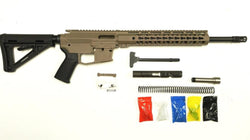 "9 MM Rifle Kit, Cerakote FDE Rifle Kit 16"" Phosphate Barrel, FDE  Keymod Rail with Cerakote FDE 80% Lower/ Black Magpul Moe Stock / Black Magpul Moe Grip"
