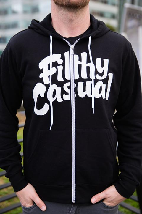 Filthy Casual Black Zip Hoodie - Filthy Casual Co.