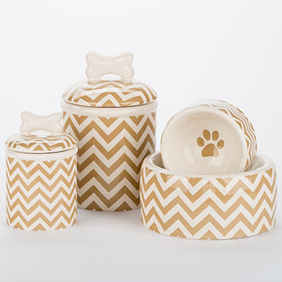 The Chevron Dog Bowls and Treat Jars