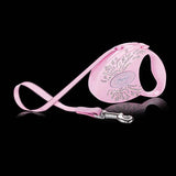 Flexi Wings retractable leash pink pearlized case and lead