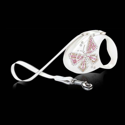 Flexi Glam line Butterfly retractable leash shown in white with Pink Swarovski Crystals