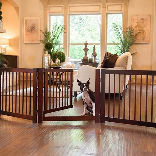 Primetime Configurable Gate with gate door open and sitting dog