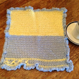 "Teacups&Tous T&T202 color Blocked Pale Yellow/ Baby Blue  15""x15""      Yellow detail open blanket"
