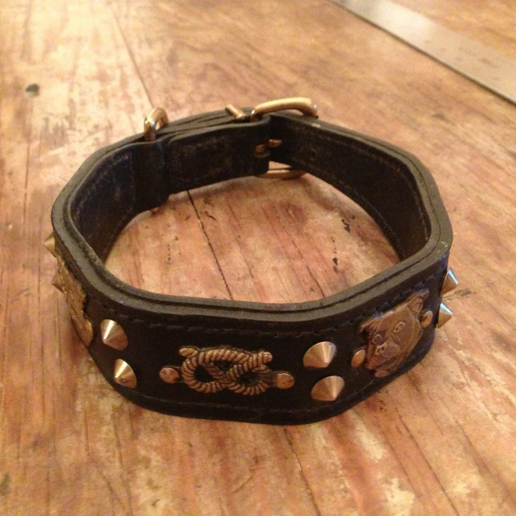 Bulldog motif antique dog collar c1950's