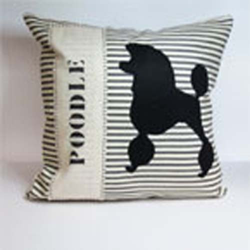 French Poodle appliqued pillow on Black/Creme ticking stripe