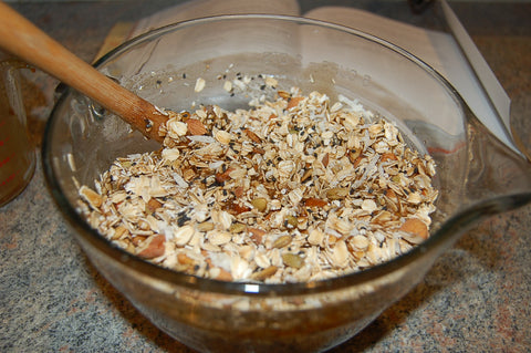 Homemade Granola Mixed Ingredients