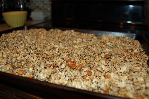 Granola Mixture on Baking Sheet