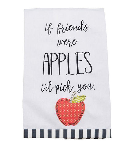 Embroidered Apple Tea Towel