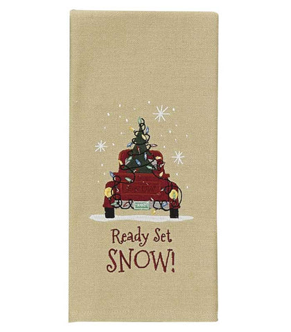 Embroidered Dishtowels - Snow