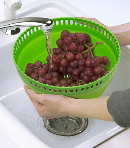 Collapsible Salad Spinner used as a Colander