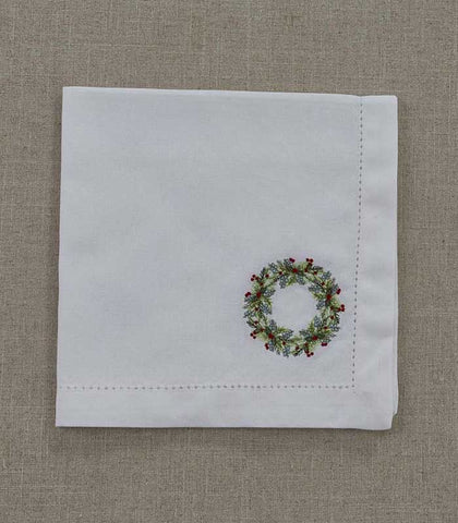 Embroidered Napkin - Winterberry