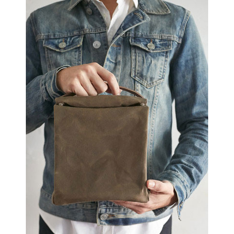 Waxed Cotton Lunch Bag with Leather Handle