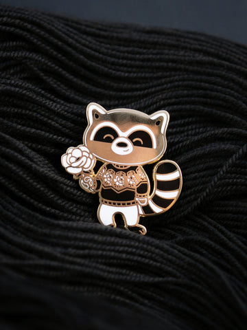 Once and Floral Raccoon (enamel pin)