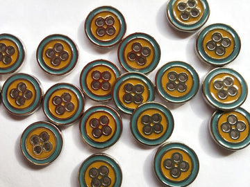 Blue & Yellow Enamel Metal Button Size 15mm - TGB2923