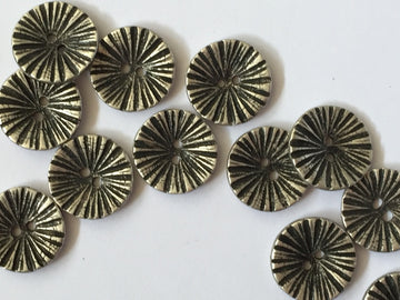 Silver Coloured Concave Starburst Button Size 15mm - TGB1748