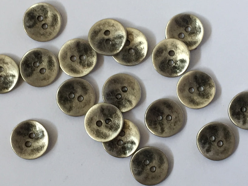 Silvery zinc colour button – uneven surface Size 12mm - TGB119