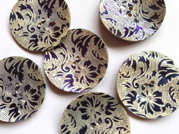 Large Navy Floral Design Shell Button 38mm - TGB2652