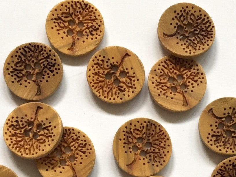 Natural Wooden Laser Tree Button 15mm - TGB1585