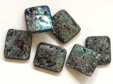 Grey Crackle Effect Opal  Shell Button Size 32mm x 26mm - TGB2066