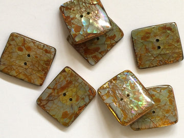 Yellow  Crackle Effect Opal Colour Button Size 32mm x 26mm- TGB2086