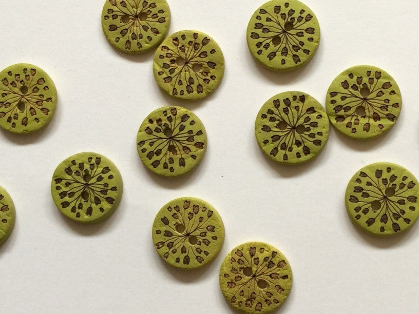 Green Coco Shell with Dark Flowers Button 15mm - TGB1784