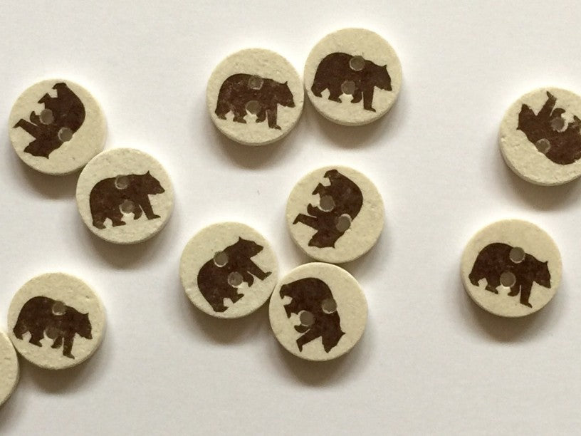 Pale Coco Shell with Brown Bear Button 12mm - TGB2230