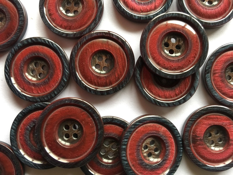 Red with Blue Rim Polyester Button Size 25mm - TGB3849