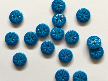 Blue Glossy Polyester Button Size 10mm - TGB1724