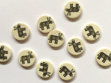 Grey Donkey Coconut Shell Button 15mm - TGB1789