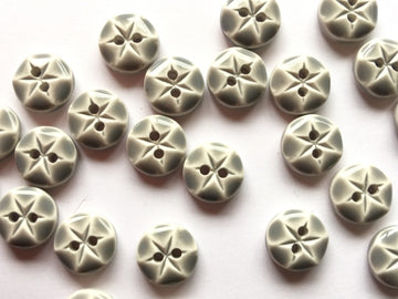 Grey Glossy Polyester Button Size 10mm - TGB1726