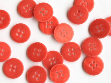 Coral Red Matt River Shell Button - 15mm - TGB2615