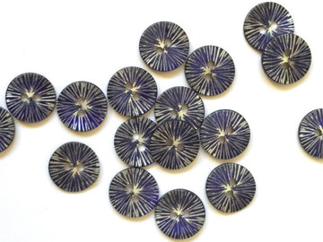 Glossy Blue Star Burst Shell Button 12mm - TGB2596