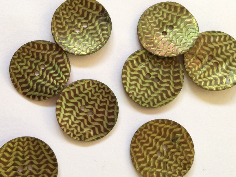Olive / Lime Laser Design Shell Button 22mm - TGB2696