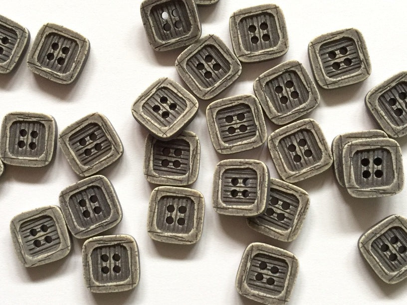 Grey Square Matt Polyester Button 12mm - TGB2712