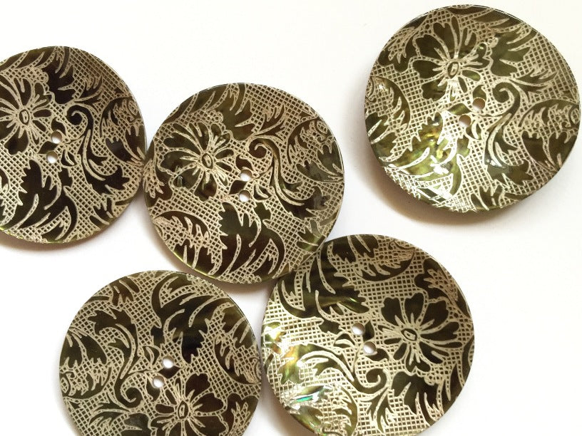 Large Dark Green Floral Design Shell Button 38mm - TGB2720