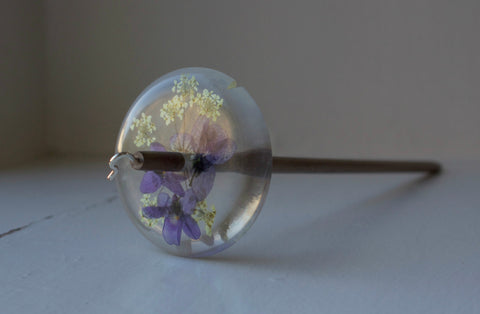 Violet & Cow Parsley Resin Drop Spindle