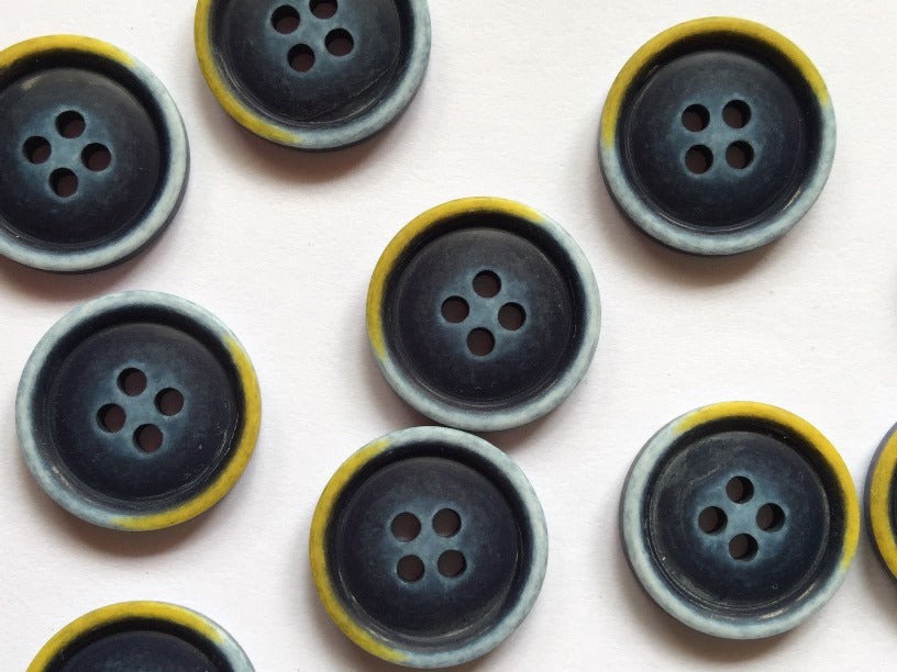 Dark Blue with Blue and Yellow Edge Button - 20mm - TGB2836