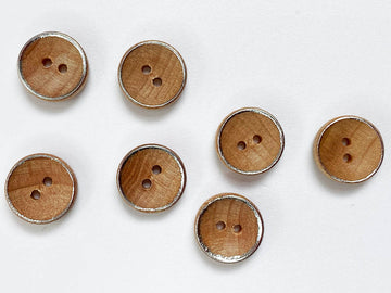 Small Wood with Silver Rim Button 12mm - TGB1935