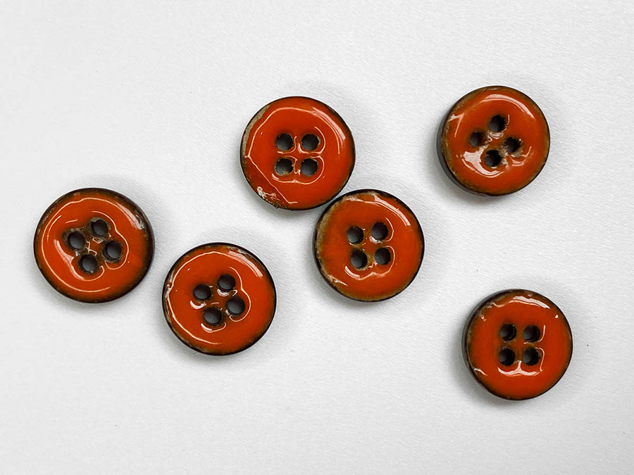 Orange Glossy Coco Shell Size Button 15mm - TGB21172